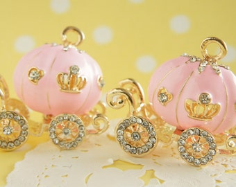 1 pc Big Pumpkin Carriage Charm (40mm46mm) Pink AZ207