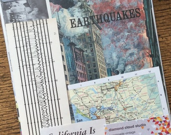The Great 1906 San Francisco California Earthquake Vintage Natural Disaster Collage, Scrapbook and Planner Kit Number 2303