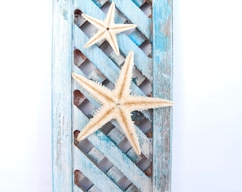 Handmade Miniature Garden Trellis with Real Weather Resistant Starfish for Fairy, Beach, Staycation Garden, Dollhouse Miniatures, OOAK