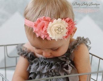 SALE Coral Headband - Baby Girl Headband - Coral Hair Bow - Coral Photo Prop For Baby - Baby Girl Headband