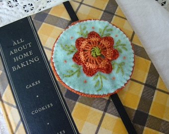 Pale Blue and Rust floral wool embroidered bookmark