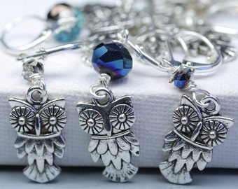 Silver Stitch Markers - Owl - Slip on or Clip on