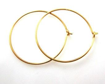 Vermeil Earrings, Hoops,22K Gold plated over 925 Sterling Silver Findings - Simple Earring Hoops-25mm -(2 pairs, 4 pcs) - SKU: 203008-25-VM