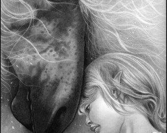5X7 Art print Magical Dreams Elf Fairy Girl Horse dreamy fantasy art print