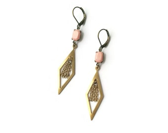 Matte Pink Earrings Tassels - Geometric Earrings - Vintage Inspired Jewelry - Diamond Shape - Iris in pink Earrings (SD1118)