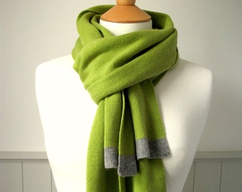 Knitted Cashmere Scarf - Pistachio Green - Soft, Winter, Cosy, luxury, grey trim