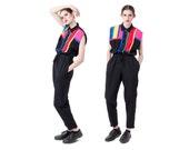 JUMPSUIT pantsuit BLACK colorblock vintage Sleeveless pants 80s 90s pockets / Medium better Stay together