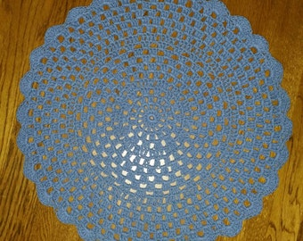 Crochet Cotton Place mats set of 2 in French Blue