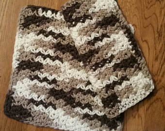 Crochet Cotton Dishcloth set of 2 in Chocolate Ombre
