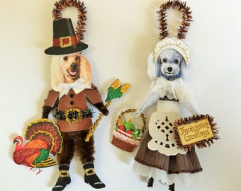 Poodle THANKSGIVING PILGRIM ornaments Dog ornaments vintage style chenille ORNAMENTS set of 2