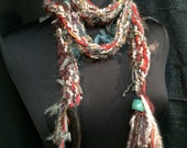 Scarf Thin Lariat Necklace Hand Knit Chunky Scarflet Neck Warmer Glass Blown Bead Ends Fiber Art OOAK