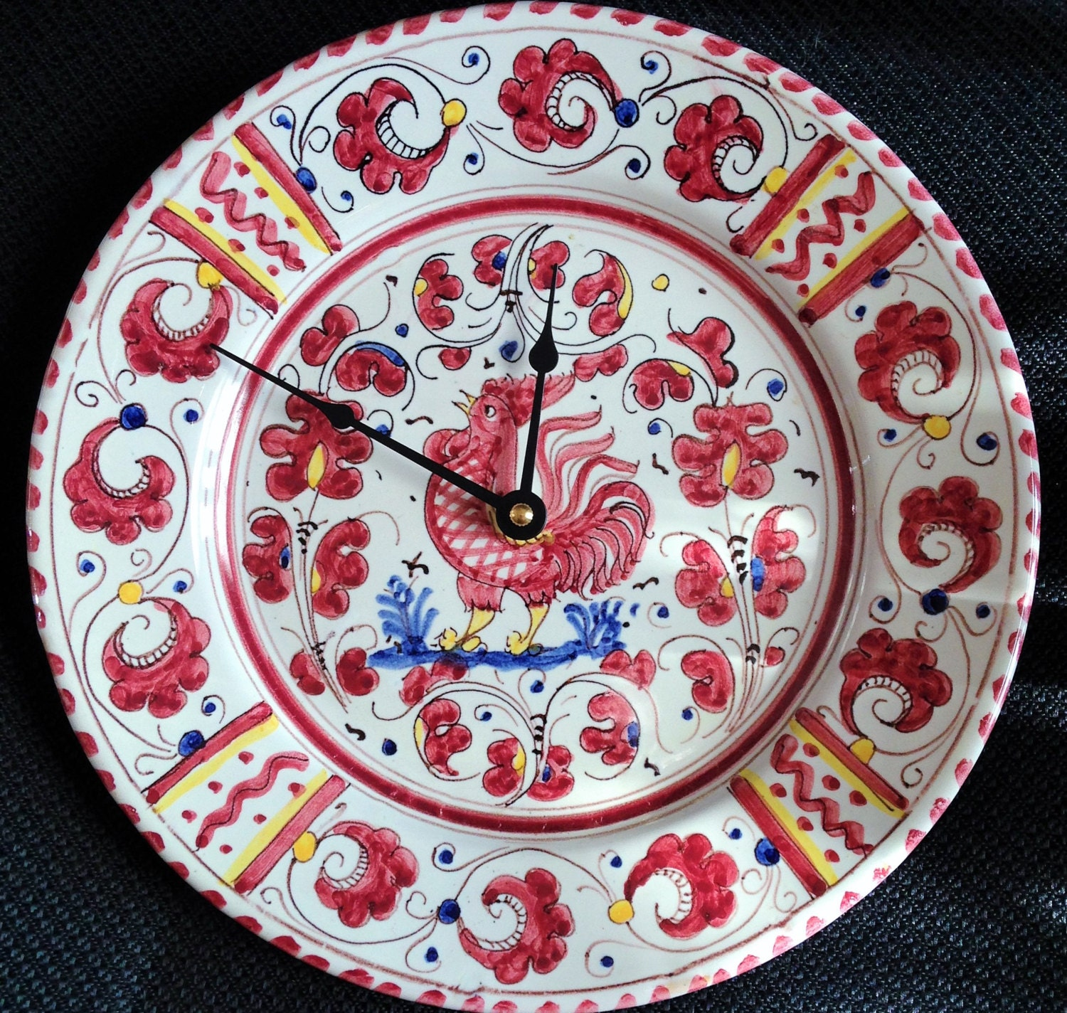 Pv Italy Deruta Ceramic Singing Red Rooster Country Style