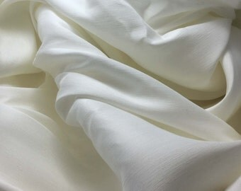 Silk / Linen Blend Suiting Fabric - NATURAL WHITE - 1/3 Yard