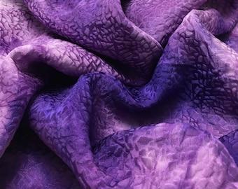 Hand Dyed Purple PEBBLES - Silk Jacquard Fabric - 1 Yard