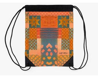 Drawstring Backpack,Festival Bag,Folk Design Bag,Cinch Sack,Unique Back to School Supplies,Christmas Gifts for Students,Carry All Bag