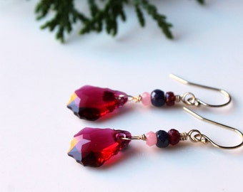Ruby Crystal Earrings / Swarovski Crystal in Ruby Red / Ruby Sapphire Opal Gemstones / 14K gold fill earrings / Delicate Drop Earrings