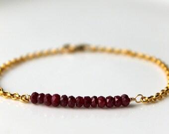 Ruby Bracelet, Gold Ruby Bracelet Ruby Gemstone  Delicate Vermeil Gold Chain Dyed Ruby Precious Stone July Birthstone