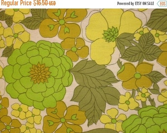 NOW ON SALE vintage fabric - lemon lime flannelette floral - 24x39 inches