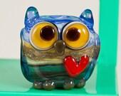Blue Green Owl Lampwork Bead