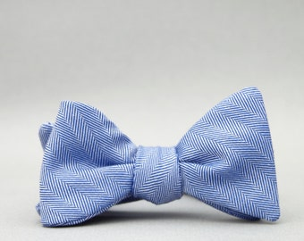 herringbone self tie bow tie //  classic freestyle bow tie  //  royal blue bow tie  //  totally rad bow tie