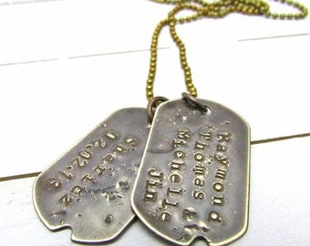 Gift for Him | Custom Dog Tags | Personalized Dogtag Necklace | Rustic Guy Gift | Father's Day Gift | Military Necklace | Dad Necklace