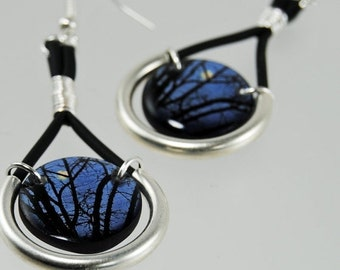 CIJ SALE midnight moon resin earrings, full moon , trees at night , midnight blue earrings , dangle earrings