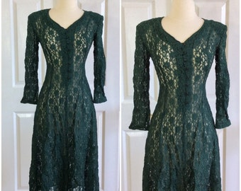 80s Forest Green Lace Dress
