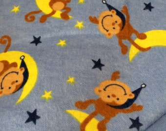 Flannel Blue Monkey and Moon Baby Blanket