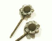 Sunflower Hair Pins, Sunflower Bobby Pins, Bohemian Hair Pin, Nature Inspired, Flower Hair Pin, Boho, Woodland Flower, Gifts for Her
