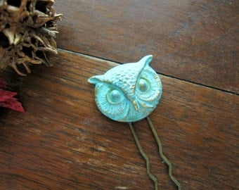 Owl Hair Pin, Owl Hair Stick, Verdigris Owl, Turquoise, Woodland Owl, Cosplay Hair Fork, Animal, Owl Hair Fork, Bun Accessory, Gifts for Her