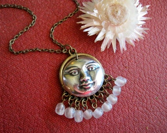 Moon Necklace, Man in the Moon, Full Moon, Mystical Moon, Silver Moon, Celestial, Charm Necklace, Layering Jewelry, Astrology Gifts, Boho