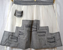 Vintage Apron Dotted Swiss and Gingham Chicken Scratch Embroidery