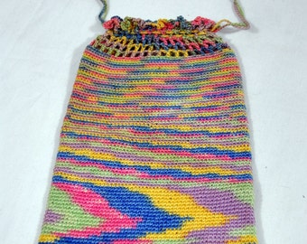 Vintage Crocheted Drawstring Purse Pouch  with Veriegation and Beading