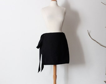 mini black cotton wrap skirt ready to wear
