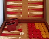 Vintage Bakelite Large Backgammon Game Complete with Case, Red & Butterscotch Pieces, Cork Backed Game Board, Leather Case