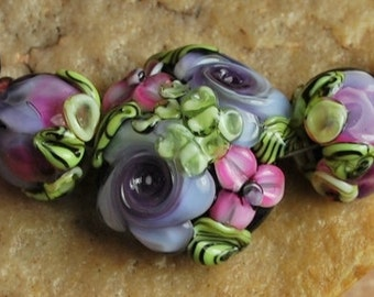 Glass Lampwork Beads, Garden Flowers, Lavender Pink SRA #982 by CC Design