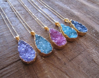 Druzy Necklace, Teardrop Necklace, Valentine's Day Jewelry, Choose Your Color Pendant, 14K Gold Fill,Agate Druzy, Drusy Necklace