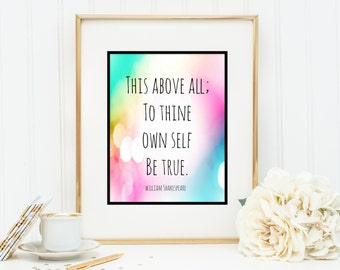 Shakespeare Thine own Self be true Instant Digital Download DIY Print yourself watercolor