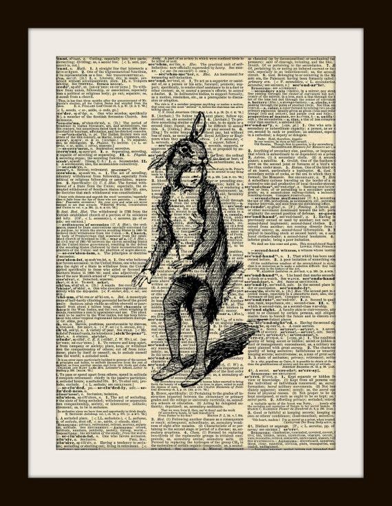 VINTAGE RABBIT BOY Art Print on Vintage Dictionary Page 8x10