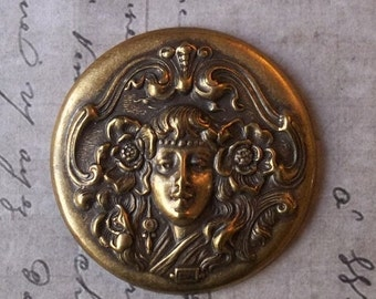 HUGE SALE Art Nouveau Mucha Poppy Maiden Surrounded By Flowing Hair & Ornate Frame Medal Antiqued Brass Stamping Pendant