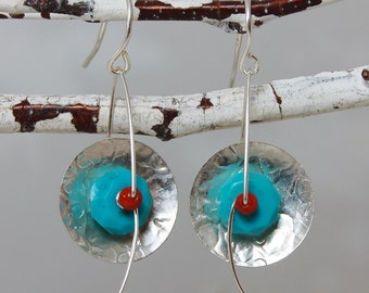 Modern Sleeping Beauty Turquoise Coral Disc Earrings Sculptural Wire Earrings
