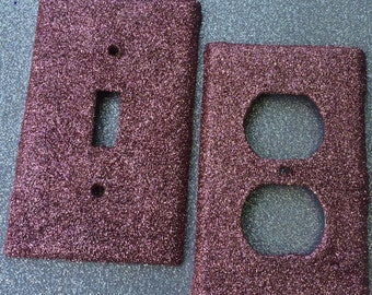 Dusty Rose Pink Glitter Switchplate Outlet Cover Rocker Bar Decora Triple Double Quad Cable Outlet