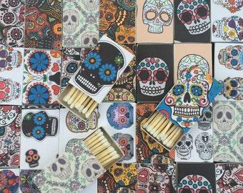 10 Sugar Skull Matchboxes - Party Wedding Favors Day of the Dead Día de los Muertos