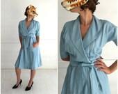 Vintage 50's Pale Blue Silk Belted Wrap Dress | Medium
