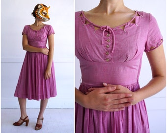 Vintage 50's Pink Day Dress with Unique Cutout Triangle Rhinestone Bodice by Vicky Vaughn | XS/Small