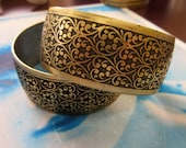 Brass Ox Plated Brass Floral Embossed Bangle Cuff 2232BOX x1