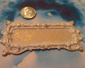 Gold Plated Frosted White Patina Brass Bezel Flourish Frame 28WHT x1