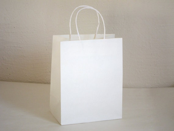 White Paper Bags with Handles - Set of 17 - 9 7/8 x 7 7/8 x 4 5/8 inches - Free US Shipping