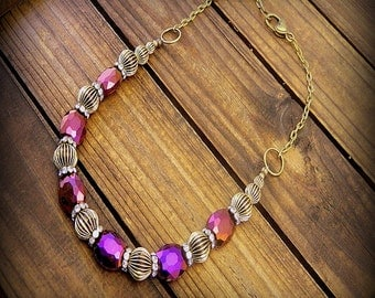 Barbed Wire, Western Cowgirl Southwestern Boho Purple Mystic Quartz And Bronze Necklace