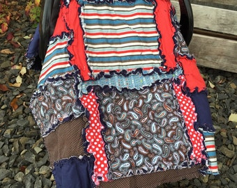 CAR SEAT Canopy for Baby Boy Rag Quilt Style, Blue and Red- Baby Boy Car Seat Canopy Paisley, Stripes, Dots, Ready to Ship in 1 Business Day